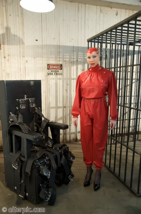 Anna Rose at MedicalToys in a Rigid Cuff Jail Cell